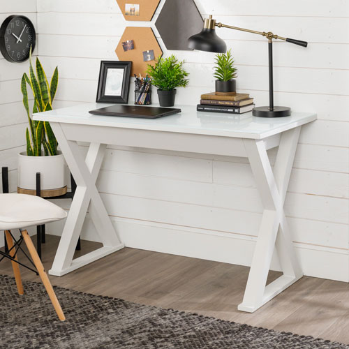 Home Office 48-inch White Glass Computer Desk