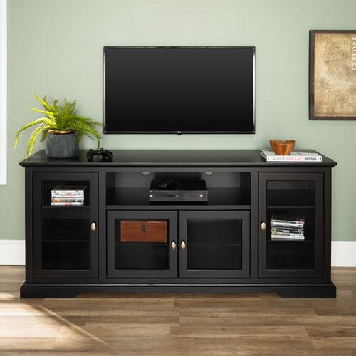 70-inch Black Wood Highboy TV Stand