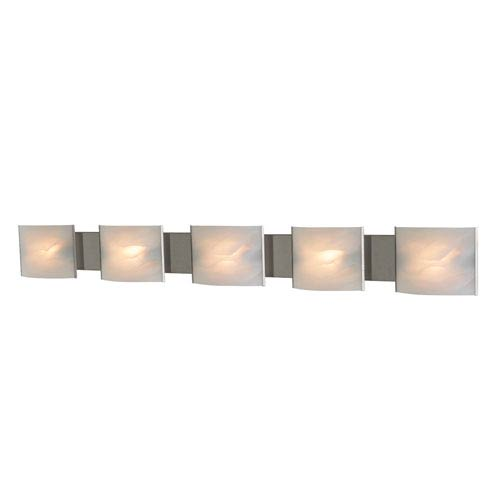 Pannelli Stainless Steel Five-Light Bath Fixture with White Alabaster Glass Diffuser