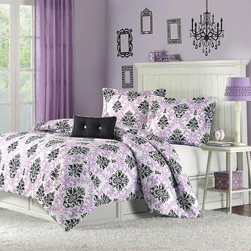 Mizone Katelyn Purple Three-Piece Twin Extra Long Comforter Set