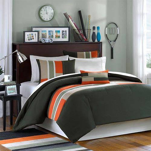 Mizone Pipeline Green and Orange Three-Piece Twin Extra Long Comforter Set
