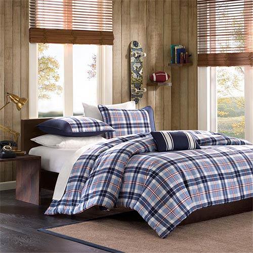 Elliot Blue Three-Piece Twin Comforter Set