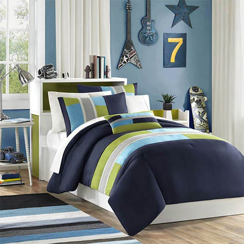 Pipeline Blue and Green Three-Piece Twin Extra Long Comforter Set