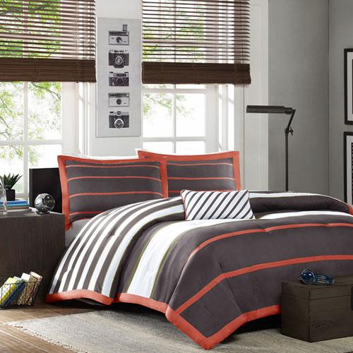 Ashton Gray Three-Piece Twin Comforter Set