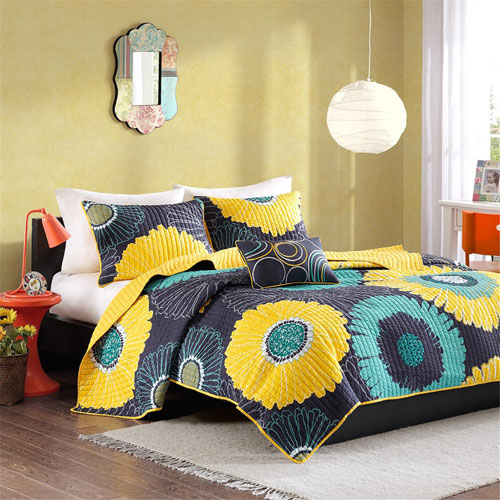 Alice Yellow Three-Piece Twin Coverlet Set