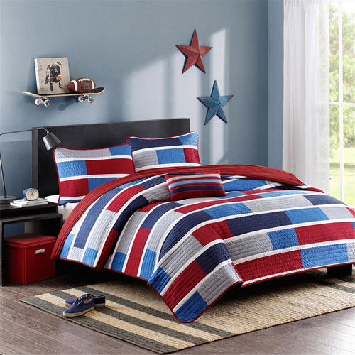 Bradley Red Three-Piece Twin Coverlet Set