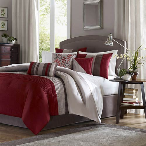 Tradewinds Red Seven-Piece Queen Comforter Set