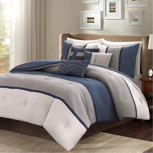 Palisades Blue Seven-Piece Queen Comforter Set