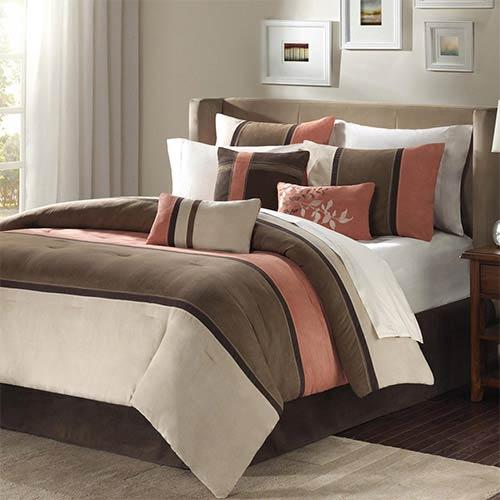 Palisades Brown and Tan Seven-Piece Queen Comforter Set