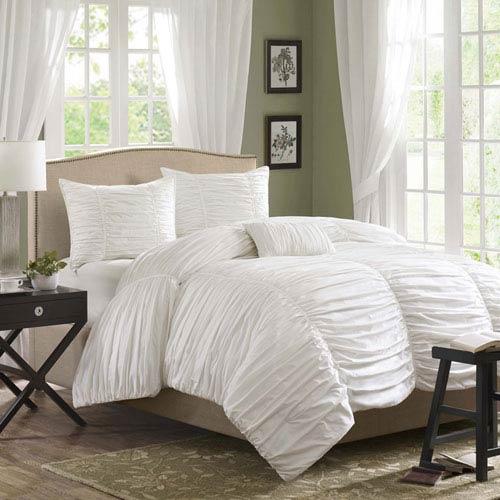 Delancey White Four-Piece King Comforter Set