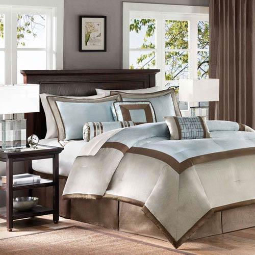 Merveilleux Madison Park Genevieve Blue Seven Piece Queen Comforter Set