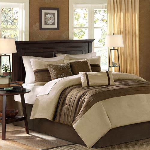 Palmer Tan Seven-Piece Queen Comforter Set