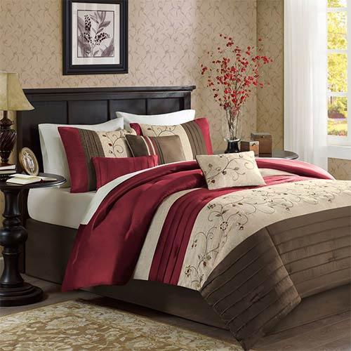 Madison Park Serene Red Seven-Piece Queen Comforter Set