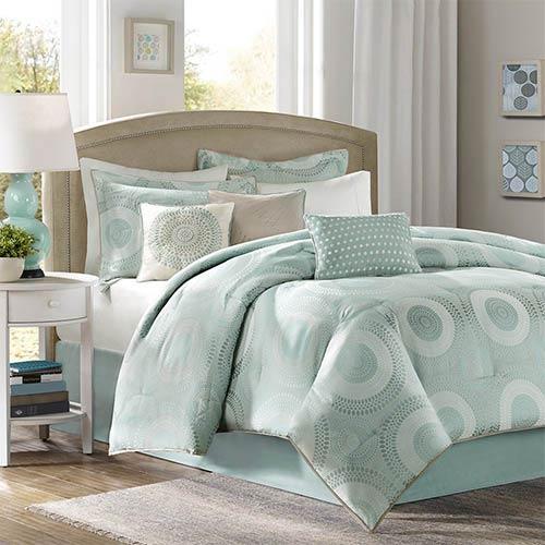 Baxter Blue Seven-Piece Queen Comforter Set