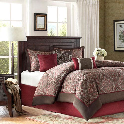 Talbot Red Seven-Piece Queen Comforter Set