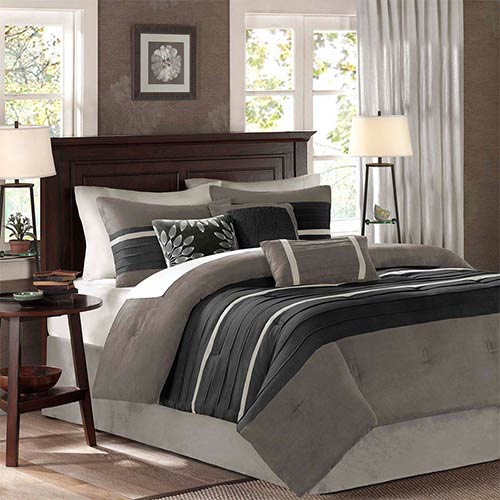 Madison Park Palmer Black Seven-Piece Queen Comforter Set