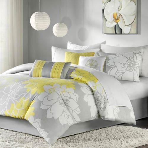 Madison Park Lola Yellow Six-Piece Twin Comforter Set