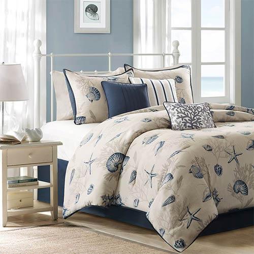 Madison Park Bayside Blue Seven-Piece Queen Comforter Set