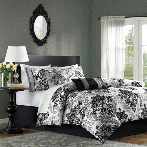 Bella Black Seven-Piece Queen Comforter Set