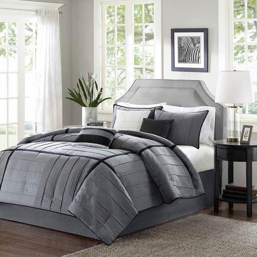 Madison Park Bridgeport Gray Seven Piece Queen Comforter Set