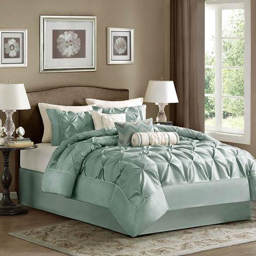 Laurel Blue Seven-Piece Queen Comforter Set