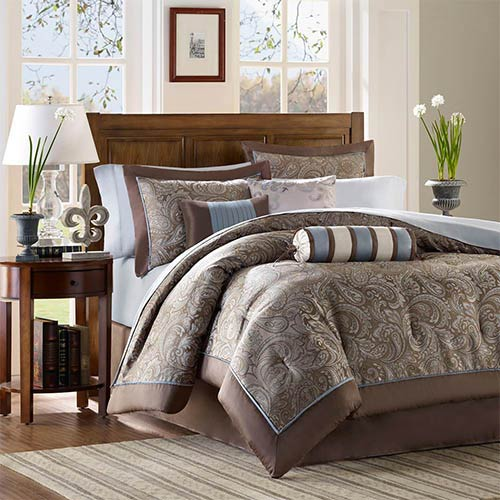 Madison Park Aubrey Blue and Brown 12-Piece Full Comforter Set