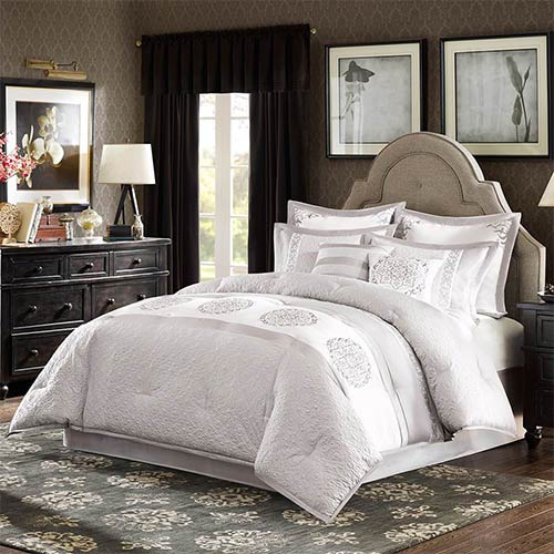Madison Park Signature Arianna Grey Eight-Piece Queen Comforter Set