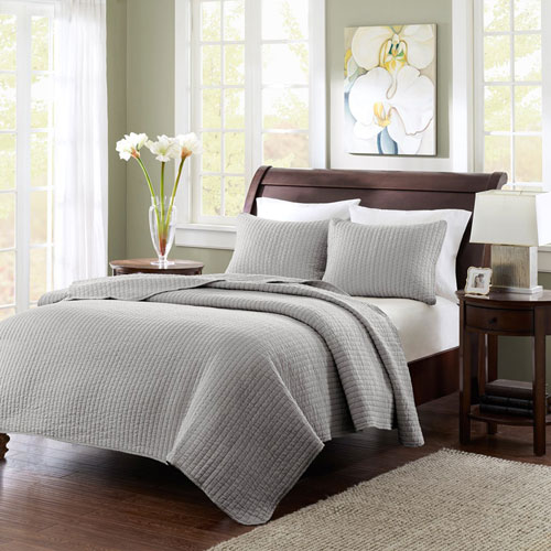 Keaton Gray Two-Piece Twin Coverlet Set