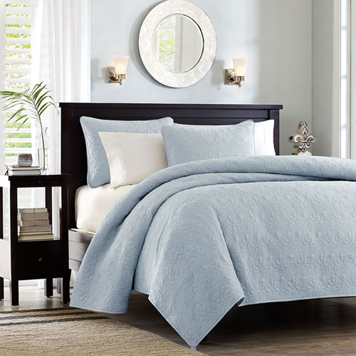 Quebec Blue Three-Piece King Coverlet Set