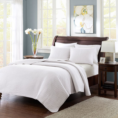Keaton White Two-Piece Twin Coverlet Set