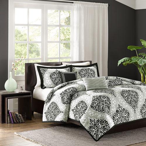 Senna Black Four-Piece Twin/Twin XL Comforter Set