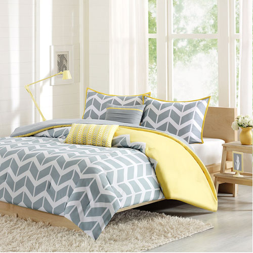 Intelligent Design Nadia Gray And Yellow Four Piece Twin Xl Comforter Set