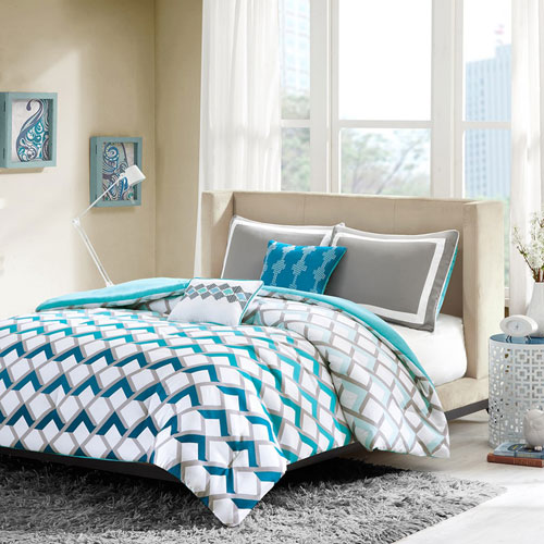 Intelligent Design Finn Blue Four Piece Twintwin Xl Comforter Set