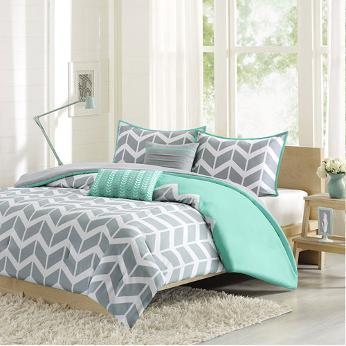 Intelligent Design Nadia Gray And Teal Four Piece Twintwin Xl