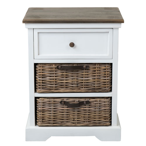 Acheson White Mahogany Rectangle Nightstand