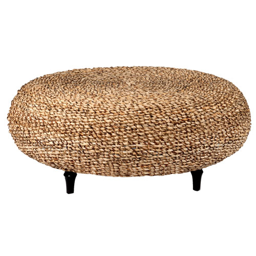 East at Main Amhurst Brown Abaca Round Coffee Table