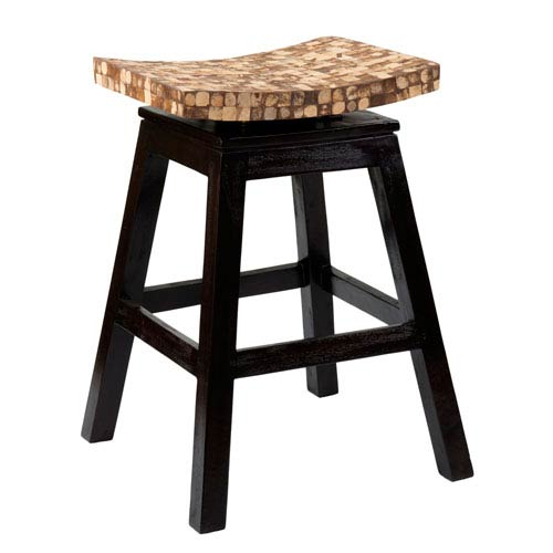East at Main Carnation Black Coconut Shell Inlay Counter Stool