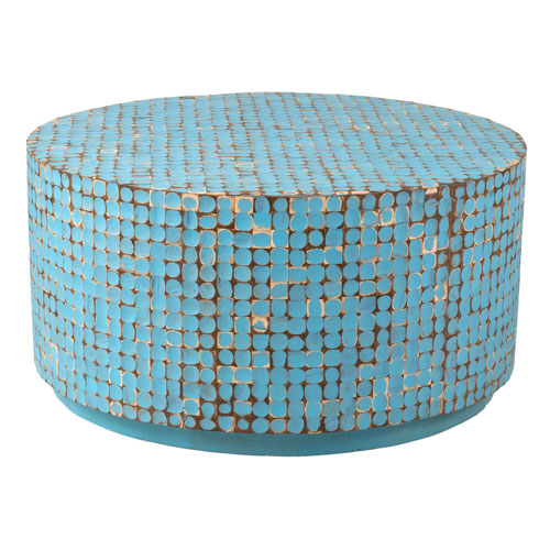 Cummings Blue Coconut Shell Inlay Round Coffee Table