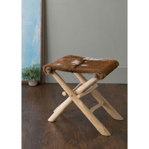 Derma Brown Square Natural Hide Stool