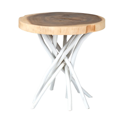 East At Main Joeslin White Teakwood Round Accent Table