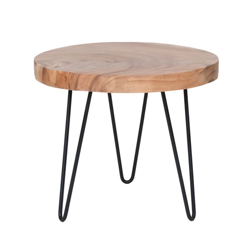 East at Main Larkin Brown Teakwood Round Accent Table