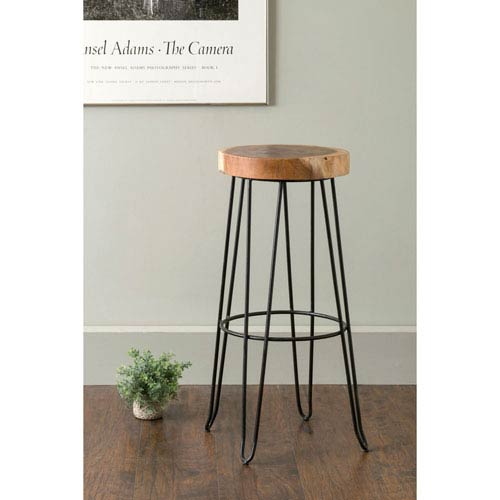 Mapleton Brown Round Teakwood Barstool