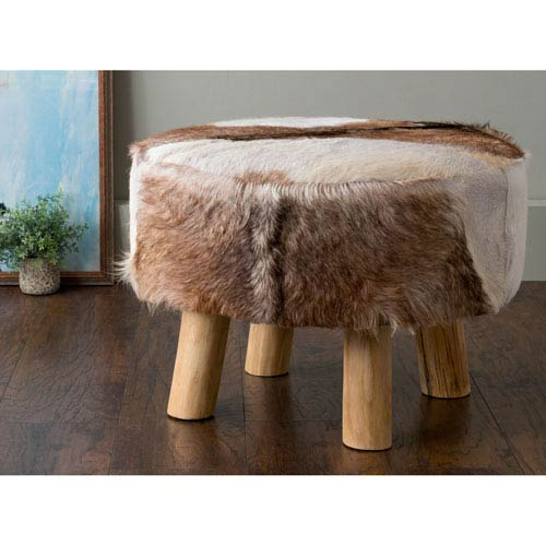 Maxwell Brown Round Natural Hide Ottoman