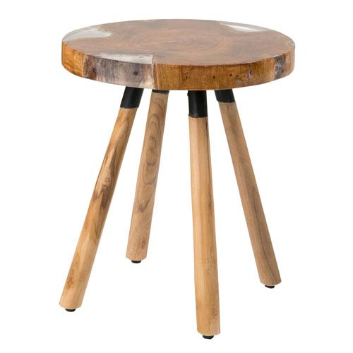 East At Main Minden Brown Round Teakwood Accent Table