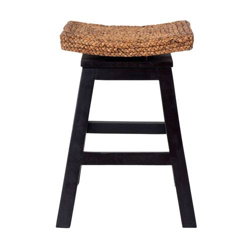 Oakley Black Wood and Water Hyacinth Counter Stool