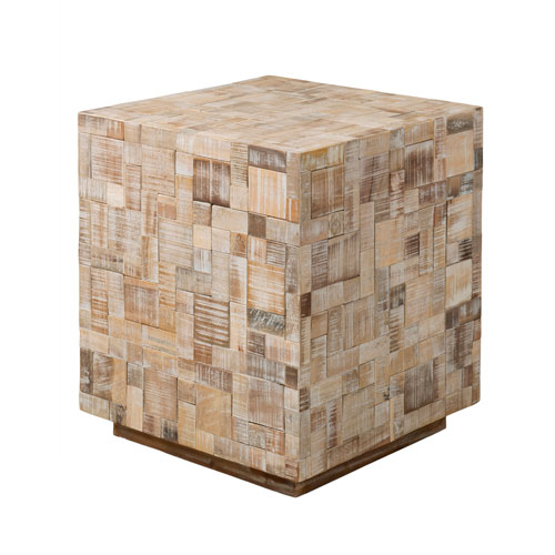 East at Main Rosalee Off-White Mosaic Wood Square Accent Table