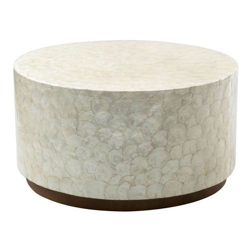 East At Main Rowden Off White Wood And Capiz Round Coffee Table