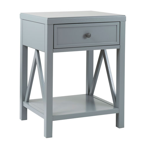 Wilcox Grey Acacia Wood Square Accent Table