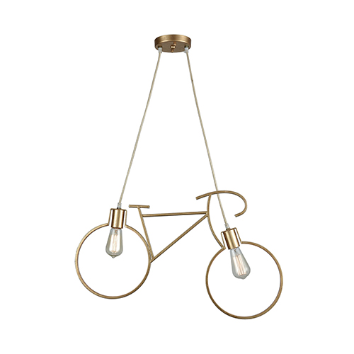 Sterling Industries Ten-Speed Of Light Gold Leaf Two-Light 27-Inch Pendant