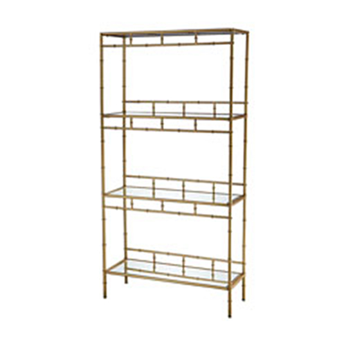 Sterling Industries Khazar Gold Leaf and Clear Mirror Bookcase